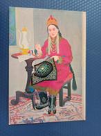 Mongolia.  Typical Girl. Folk Costume   - Old Postcard 1970s Embroidery - Mongolia