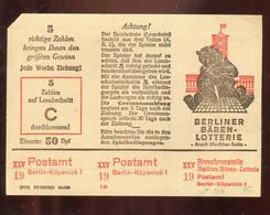 """DDR / Losschein """"Berliner Baeren-Lotterie"""" (4051) - Briefe U. Dokumente"""