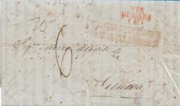 PREFILATELICA DA NAPOLI PER GENOVA - VIA DI MARE - VIAGGIATA 1842 - CON TESTO INTERNO - H22 - ...-1850 Voorfilatelie