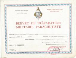 TB / DIPLOME De Préparation Militaire  PARACHUTISTE VINCENNES 1983 Brevet  MILITARIA - Diplômes & Bulletins Scolaires