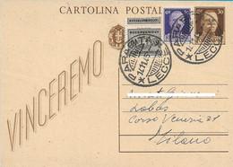 LUOGOTENENZA CARTOLINA VINCEREMO CON MISTA IMPERIALE SENZA FASCI E SEGNATASSE DA PARABITA A MILANO 1945 - Marcofilie