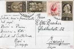 REGNO CARTOLINA  DA FIRENZE IN SVIZZERA CON QUATTRO DIFFRENTI COMMEMORATIVI 27.04.1938 -  H30 - Storia Postale