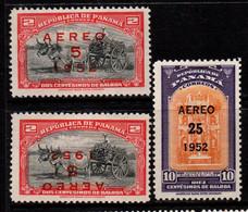 N477C - PANAMA - 1952- SC#: C129, C129a,C130 - MH - OVERPRINTED - Panama