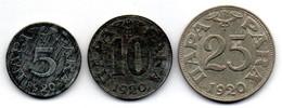 YUGOSLAVIA, Set Of Three Coins 5, 10, 25 Para, Zinc, Nickel-Bronze, Year 1920, KM #1, 2, 3 - Yugoslavia