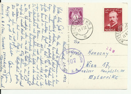 Censored Postcard From Norway To Austria.1952. - Storia Postale