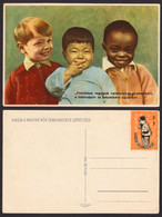 1950's Hungary - For DPR Korea USA WAR - Children Charity Stamp + POSTCARD - CINDERELLA LABEL VIGNETTE - BOY - Corea Del Nord