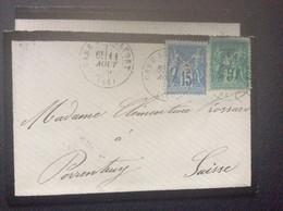 ENVELOPPE Paix Et Commerce  SAGE 15c & 5c  Correspondance Intérieure  BELFORT > PORRENTRUY  Suisse  1879 - 1877-1920: Semi Modern Period