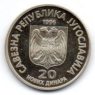 YUGOSLAVIA, 20 Dinara, Copper-Nickel-Zinc, Year 1996, KM #169, PROOF. - Yougoslavie