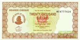Zimbabwe - 20000 Dollars - 2003 ( 2005 ) - Pick 23.f - Unc. - Serie MC - 20 000 - Simbabwe