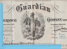 Contrat -Gardian Insurance, 1918, A.G. Campbell Sherbrooke Que.  $200, Prime $4.21, Contract - Documenti Storici