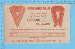Articles De Ventes - Uniform Orange Regalia Supplied By Bro. S. Kennedy Montreal P.Que, 3 Feuilles Et 1 Carte - Canada