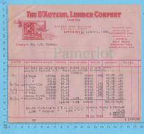 The D'auteuil Lumber Co. Credit Pour: A.W. Bishop, Differente Ville Du Quebec Bois De Pulpe Pour $ 1583.99 En 1928 - Canada