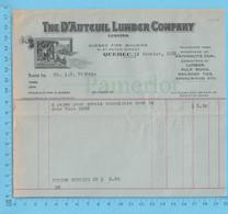 The D'auteuil Lumber Co.Credit At: A.W. Bishop, Envoie Seculaire Pour Un Char, Douane $2.50 - Canada