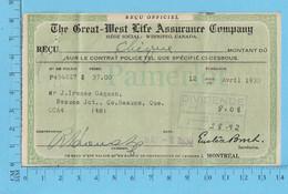 Great-West Life Assurance - Billet 1931, Dividende $8.08 - Canada