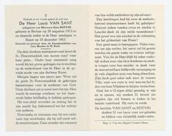 Doodsprentje Louis Van Sant - Berlaar 1912, † Ranst 1963 - Images Religieuses