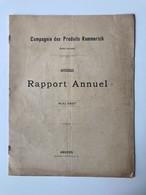 Rapport Annuel Compagnie Des Produits Kemmerich 1897 - Anvers - Documents Historiques