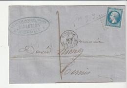 """Lettre Napoléon N°22 Et Cachet """"Marseille/Boîte Mobile"""" Pour Tunis /Cie De Navigation Mixte,Services Réguliers Algérie - 1862 Napoléon III."""