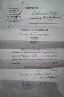 H 9 1939/45  Lettre Ou Carte Ou Documents    1919  Taxe Municipale  Courtenay - 1877-1920: Semi-Moderne