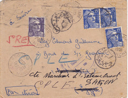 25502# GANDON LETTRE PAR AVION Obl CHERBOURG MANCHE 1951 S/S GERARDMER PORT SAÏD EGYPTE SAÏGON INDOCHINE SUD VIETNAM - 1921-1960: Modern Tijdperk