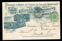 56 S/Bandelette Dominicale / CP Entête Fabrique D'Armes De Chasse, De Tir Et Munitions Mons 20 Août 04 => Nivelles - 1893-1900 Thin Beard