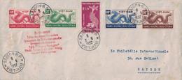 VIETNAM - SAIGON RP - FETE DE AMES ERRANTES - SERIE COMPLETE SUR LETTRE POUR SAIGON - LE 3-9-1952 - TACHES BRUNES. - Vietnam