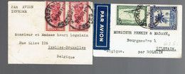 """Lot De 2 Enveloppes Format Carte De Visite """" Par Avion '' Voir Scans - Airmail: Covers"""