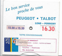 PEUGEOT - Disque De Stationnement - Garage Lons Perrigny ( Jura) - Otros