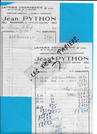 70 - Haute-saône - MELINCOURT - Facture PYTHON - Laiterie, Fromagerie - 1944 - REF 193A - 1900 – 1949