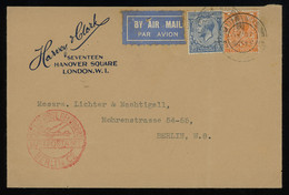 TREASURE HUNT [00211] Great Britain 1931 Air Mail Cover To Berlin Franked With KGV 2d Orange And 2 1/2d Blue Definitives - Storia Postale