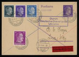TREASURE HUNT [00215] German Occ. In Ukraine 1944 6 Pf Ovpted. Post Card From Brest-Litovsk, Up-rated With Hitler Stamps - Brieven En Documenten