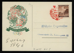 TREASURE HUNT [00224] Bohemia And Moravia 1941 Ill. Post Card (Olympic Village, Berlin 1936), Red Budweiser Special Pmk. - Lettres & Documents