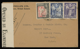 TREASURE HUNT [00226] British Guiana 1942 Air Mail Cover To The US Bearing KGVI Pictorials 4c+6c+36c, Censored - Guyana Britannica (...-1966)