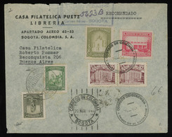 TREASURE HUNT [00230] Colombia 1945 Reg. Air Mail Cover To Argentina Bearing Various Issues Franking - Colombia