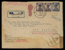TREASURE HUNT [00256] India 1943 Reg. Cover From Kankanady To New York Bearing KGVI 1 1/2a Violet Pair + 3 1/2a Blue - 1936-47 Koning George VI