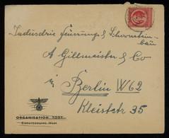 "TREASURE HUNT [00262] SBZ Thüringen 1946 Nazi Envelope Inscr. ""Organisation Todt E. W."" And Swastika, Sent To Berlin - Sovjetzone"