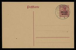TREASURE HUNT [00271] Memel Germania 40 Pf Lake Ovptd. Post Card, Unused, Canceled W/ Stonischken (Stoniškiai) 1920 Pmk. - Memel