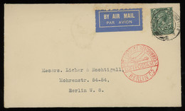TREASURE HUNT [00275] Great Britain 1931 Air Mail Cover To Berlin With KGV 4d Green, Red German Air Mail Pmk. On Front - Storia Postale