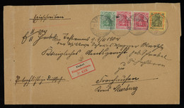 TREASURE HUNT [00290] Germany 1904 Reg. Cover From Ebsdorf Franked With Germania 5 Pf+10 Pf (x2)+25 Pf Stamps - Brieven En Documenten
