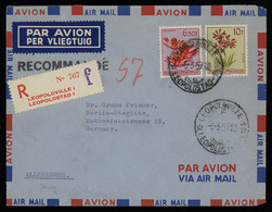 TREASURE HUNT [00295] Belgian Congo 1957 Reg. Air Mail Cover Franked With Flowers Issue 6.50fr+10fr - Luchtpostzegels: Brieven
