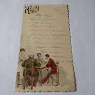 Menu // 16.5 X 9 Cm //  9 Aout 1898 Playing Cards // RARE  Top Some Damage - Menu