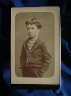 Photo CDV Nadar à Paris  Petit Garçon  Mains Dans Les Poches  Pull Marin  CA 1880 - L562B - Oud (voor 1900)