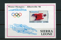 SALE  Sierra Leone 1992 Olympic Games Albertville Sleigh Dowhill Mi. Bl. 199 Imperf  MNH - Inverno
