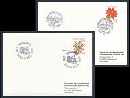 Sweden Sverige 1991 2x Karte Card Carte - Mit Bahn Zum Markt : Emmaboda, Tingsryd / By Train To The Market - Treinen