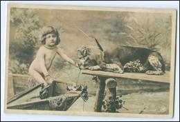 Y5245/ Kleines Kind Mit Jagdhund Foto AK Ca.1900 Rotophot - Hunde