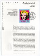 - Notice Philatélique Premier Jour PARIS 8.11.2003 - Andy Warhol - Marilyn Monroe, 1967 - - Moderne