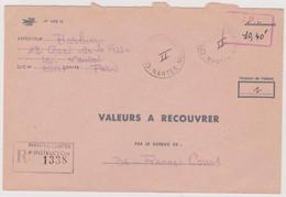 Valeurs à Recouvrer 10,40 F Nantes Centre D'instruction PTT Pour Rennes 21.03.1975 Au Dos Cours Instruction Fictifs - Phantom