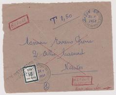 Lettre Taxée Nantes Centre D'instruction 22.01.1961 Cours Fictifs PTT Taxe 50 Centimes Refusée - Phantom