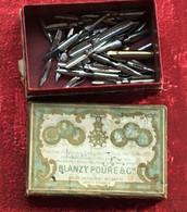 Feather+bottle Ink Bureau(objets Liés)Boite 28 Plumes Blanzy Poure Bouteille Encre Rouge Waterman 1/2 Pleine Utilisable - Federn