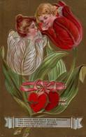 Belle Illustrée Gaufrée Te Dorée : Enfants-fleurs . Visage D'enfants Dans Les Tulipes . - Fleurs