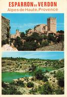 04 Esparron De Verdon Carte 2 Vues Village Provençal Au Bord Du Lac Formé Par Le Barrage - Autres Communes